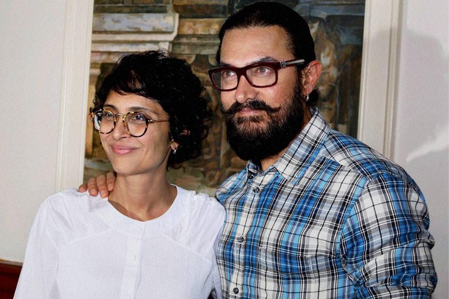 நடிகர் அமீர்கான் மற்றும் அவரது மனைவி கிரண் ராவ்.