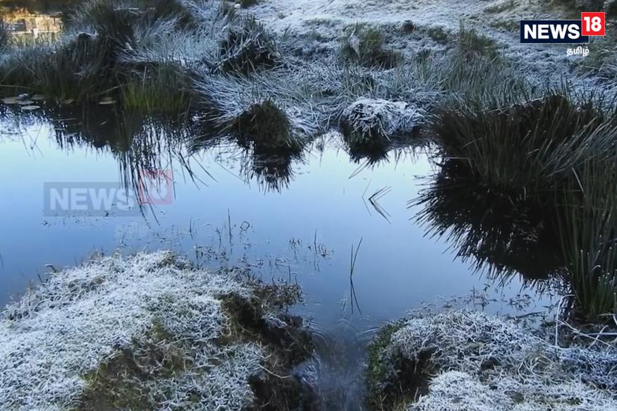 ஏரிகளில் உள்ள நீர் உறைந்து கண்ணாடி போல காட்சியளிக்கிறது. (Image: Reporter Jaffer)