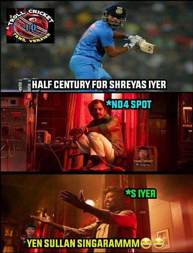 வெஸ்ட் இண்டிஸ் அணிக்கு எதிரான 2-வது ஒருநாள் போட்டியில் ஷ்ரேயாஸ் அய்யர் 71 ரன்கள் அடித்தார்