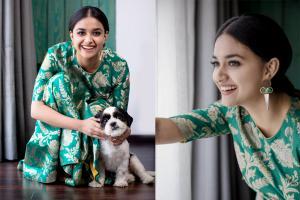 Photos: கூலிங் கிளாஸ், நாய்குட்டியுடன் கீர்த்தி சுரேஷ்